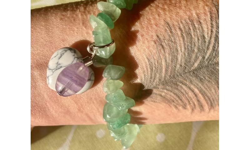 Courage and Truth - Amazonite, Howlite and Flourite bracelet