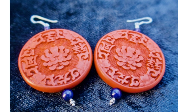 Cinnabar Lotus Earrings (Large)
