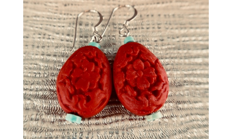 Carved Flower Drop Earrings