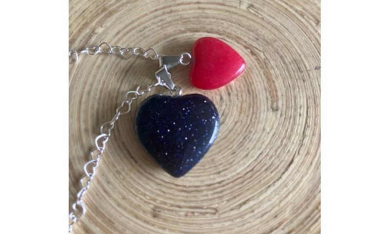 Heart of the Universe - Aqeeq Stone and Red Agate hearts necklace