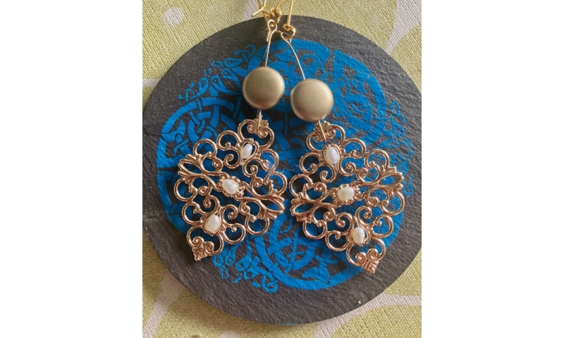 Gold Filigree Earring with Seed Pearls